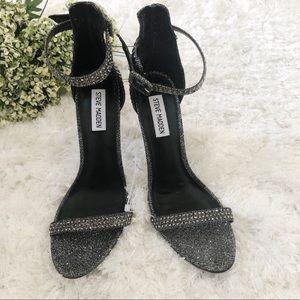 Steve Madden Realov-r Black Rhinestone Sandals 8.5